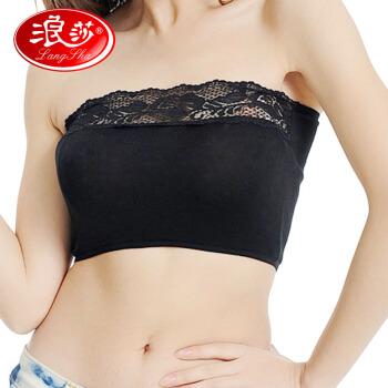 Langsha(3つの服)胸を塗る一片の女性防走光肩掛けなし胸付きベストをベースにしたインナー白黒肌各一枚の平均サイズ(80-120斤)